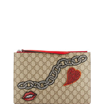 Gucci GG Supreme Embroidered Zip Pouch, Beige/Multi