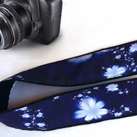 Flowers  Camera Strap.Padded Camera Strap.  Floral  Camera Strap. Blue Accessories