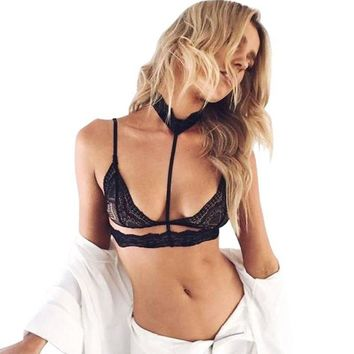 Summer Sexy Women Lady Floral Sheer Lace Triangle Bralette Unpadded Bra Top Choker Lingerie