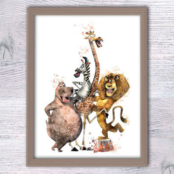 Penguins of Madagascar, Crazy animals, Kids room, Funny animal art, Madagaskar print, Giraffe, Zebra, Baby shower, Hippo, Boys room wall V70