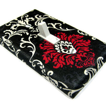 Pink Black and White Damask Light Switch Cover by ModernSwitch