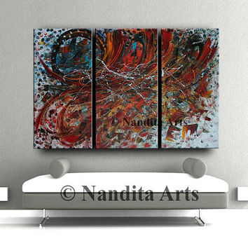 "Large Wall Art ABSTRACT PAINTING Acrylic Home Decor Red Landscape Abstract 72""x48"" Canvas Painting Contemporary Art Wall Decor, Wall Hanging"