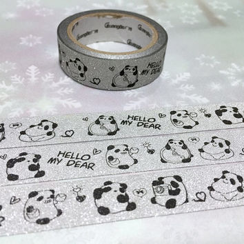 panda washi tape 5M cozy panda fat panda silver masking tape panda theme sticker tape holiday travel relaxing decor tape gift wrapping