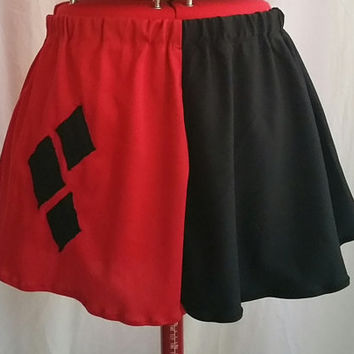 SALE ITEM: Harley Quinn Inspired Red And Black Stretch Mini Skirt Small/Extra Small