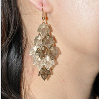 gold maple leaves earrings,charming earrings,cute earrings EH72
