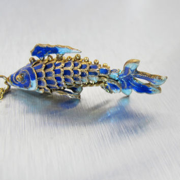 Chinese Enamel Fish Pendant, Vintage Koi Carp Articulated Charm, Chinese Export Enamel Cloisonne Jewelry