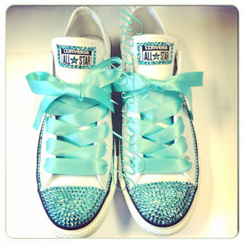 Women s Custom Bling Converse for bridesmaids - Mint Bedazzled Rhinestones  Converse wi a799bf7d1
