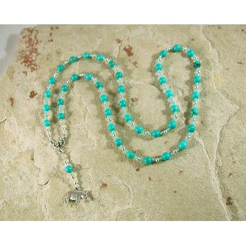 Taweret Prayer Bead Necklace in Stabilized Turquoise: Egyptian Goddess of Fertility, Motherhood, Childbirth