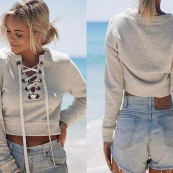 DCCKL7H Deep V long-sleeved casual sweater