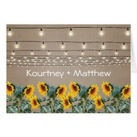 Rustic Garden Sunflowers Evening Reception Card