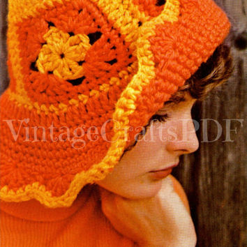 EASY 1970s Beach Hat-Crochet Vintage Pattern-Granny Square Floppy Hat-Brimmed Cap-Quick Floppy Sunhat-Greta Garbo-Crochet Pattern Hat-PDF