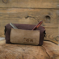 Personalized shaving bag, Toiletry Bag, Waxed canvas, groomsmen gift, leather Dopp kit, mens toiletry & Travel bag, makeup, hairdresser,