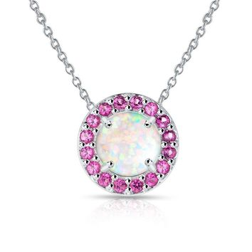 Round Halo Simulated White Opal & Ruby Necklace in Sterling Silver