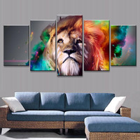 Lion Wall Canvas Painting (Unframed)
