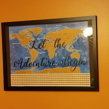 Memorialize your travel /Let the Adventure Begin World Scratch off map / Track your journey
