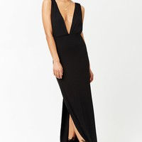 Plunging Ribbed Knit Maxi Dress