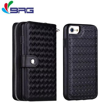 BRG 2 In 1 Cases For apple iPhone 6 6S Flip Case Wallet Card Holster Real Genuine Leather phone Holster Shell coques For iPhone6