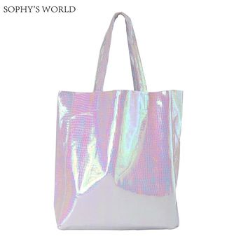 Hologram Women Shoulder Bags Silver Color Crocodile Leather Handbag Female Large Shopper Bags Casual Tote Bag Bolsa Feminino