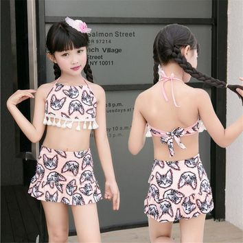 2 Two Piece Bikini 2018 New Girls Cute Swimwear Kids Summer Two Pieces Skirted Bikini Beach Wear Bandage Halter Hot Spring Girls Bath Swimming Suit KO_21_2