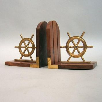 Bookend Pair of Wooden Ship Helms
