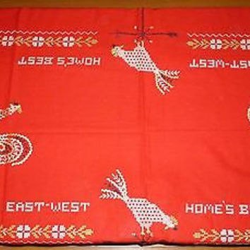 Vintage Red Roosters East West Home's Best Table Cloth