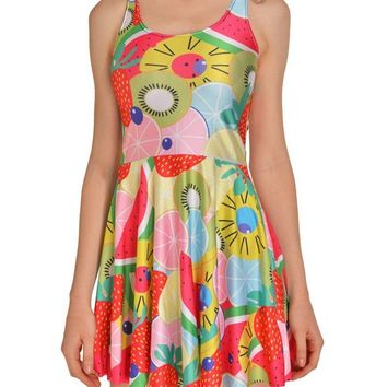 Pretty Fruits Prints Sleeveless Short Skater Dress