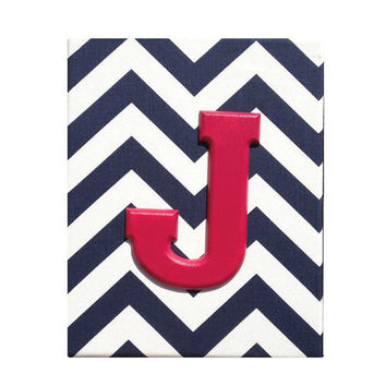 Upholstered Wood Wall Letters / Raspberry Hot Pink Navy Blue White Chevron Wooden Name / Baby Girl Nautical Nursery Decor / Premier Prints