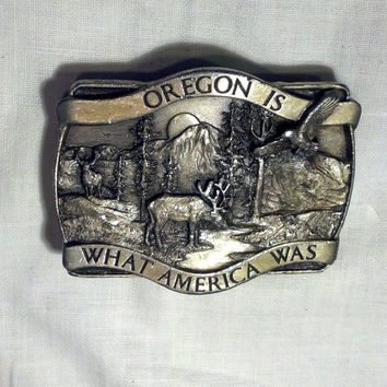 Great Oregon Belt Buckle - Vintage Buckle Commemorating Oregon History - Mountains, Deer, Elk, Eagle - Collectible Buckle