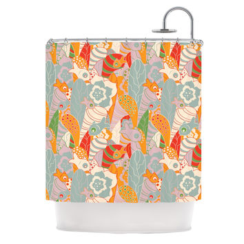 """Akwaflorell """"Fishes Here, Fishes There II"""" Multicolor Shower Curtain"""