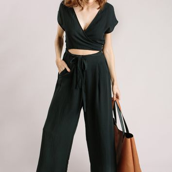 Sydney Black Wrap Front Jumpsuit