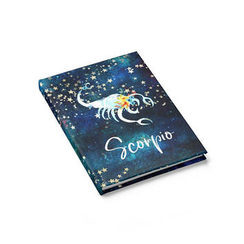 Writing Journal, Hardcover Notebook, Sketchbook, Zodiac Sign, Astrology, Unique Gift Under 20, Blank or Lined Pages - Scorpio