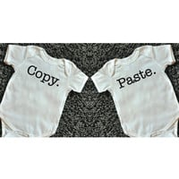 COPY PASTE Twin Bodysuit Set Funny Shirts Matching Twin Shirt Twin Baby Shirts Funny Bodysuits Infant Newborn Toddler Kids Clothes 061