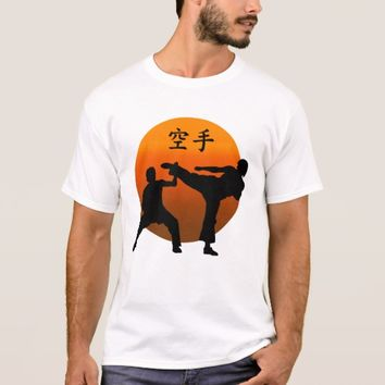 Two Karate Fighters With Rising Sun T-Shirt