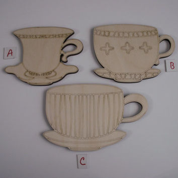 Teacup Wood Shapes, 3 Pieces, Assorted Styles, Laser Cut, Unfinished Wood, Ready to Paint Wood Shapes, Ornaments, Wreaths, Door Hangers