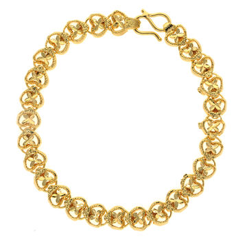 Dear Deer Gold Plated Elegant Heart To Floral Heart Link Bracelet