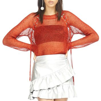 Lace-Up Shoulder Metallic See-Through Top