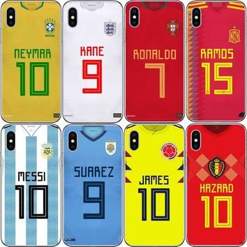 Messi Neymar Cristiano Ronaldo Football Jersey Back Phone Case for iphone 5s SE 6 6S 7 XR XS MAX 6Splus Hard plastic Phone Shell