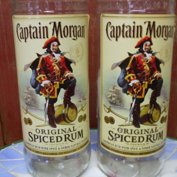 Captain Morgan Bottles Re-Purposed as 20 oz Tumblers-Set of 2