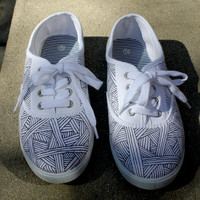 Doodle Sneakers  Size 7 W by ThatsMegMade on Etsy