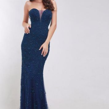 Luxury Dark Blue Evening Dresses Sexy Strapless Beading Mermaid Long Party Formal Prom Gowns for Women