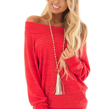 Crimson Off the Shoulder Tunic Top with Long Sleeves