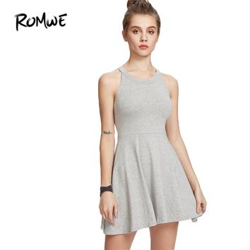 Summer Dresses Casual Women Dresses New Arrival Ladies Grey Halter Sleeveless A Line Flare Skater Dress