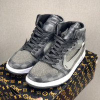 Louis Vuitton LV X Off White X Nike Air Jordan 1 Retro High Black Grey Sneaker - Best Deal Online