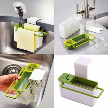 ICIK272 Suction Cup Base Kitchen Brush Sponge Sink Draining Towel Rack Washing Holder