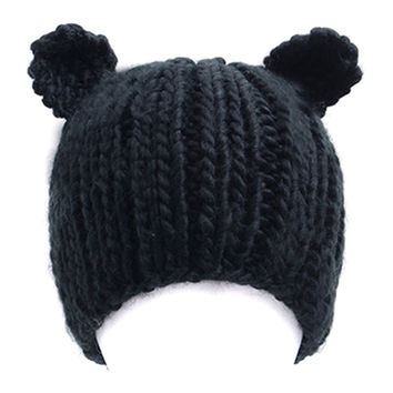 Black Cat Ear Design Bobble Beanie Hat