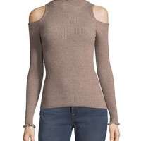 Rebecca Taylor Open-Shoulder Metallic Ribbed Pullover Sweater