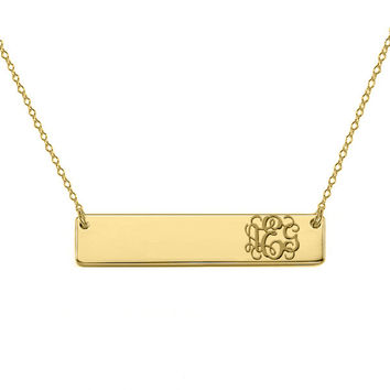 "14k Gold monogram bar necklace 14k solid gold pendant Personalize nameplate select any initial 1"" inch"