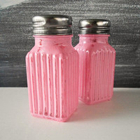 Salt Pepper Shaker Shabby Chic Bright Pink Hand Distressed For Picnics Gift Giving Home and Kitchen Decor
