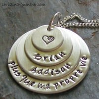 Plus que ma propre vie - -  More than my own life  - - personalized hand stamped sterling necklace
