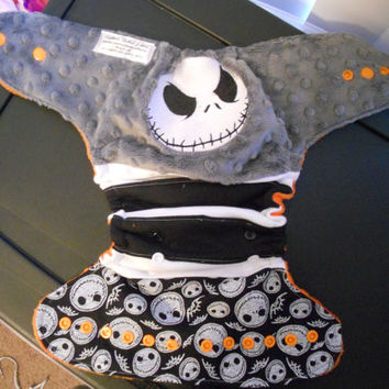 Jack Skellington inspired Cloth Diaper, Jack Diaper, Skull Diaper, Diaper Cover, One size diaper, skeleton diaper, stripes, hallowee